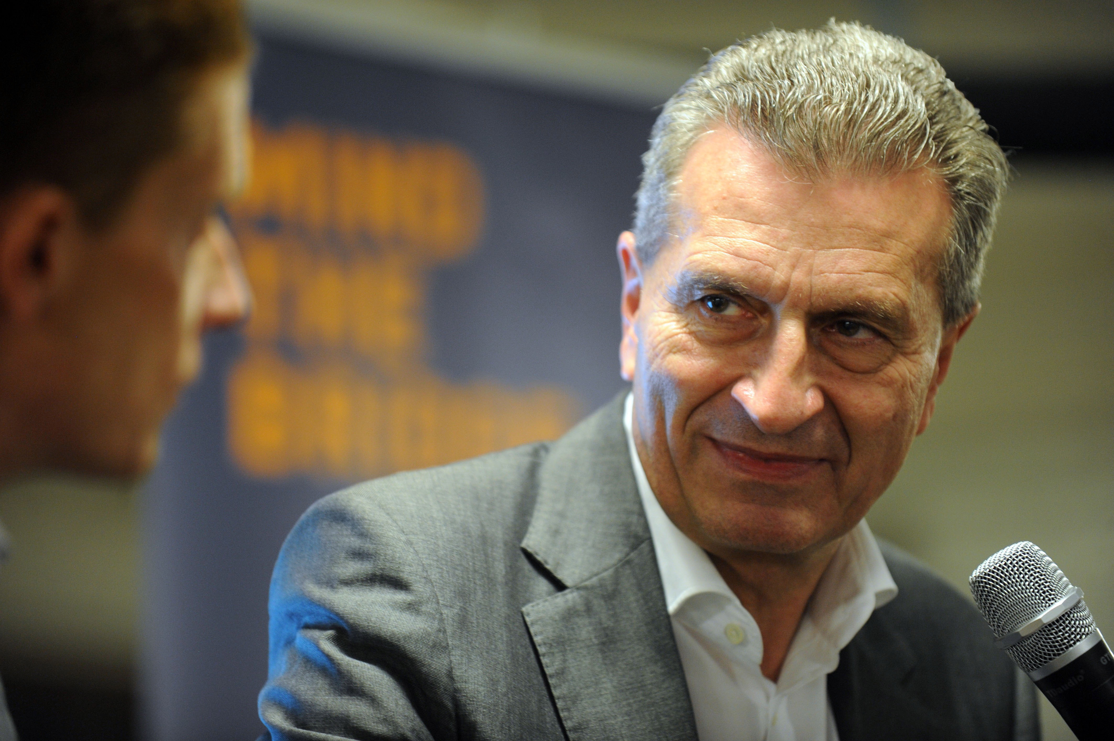 Trump, Digital Commissioner Günther Oettinger during a visit to Silicon Valley this week
