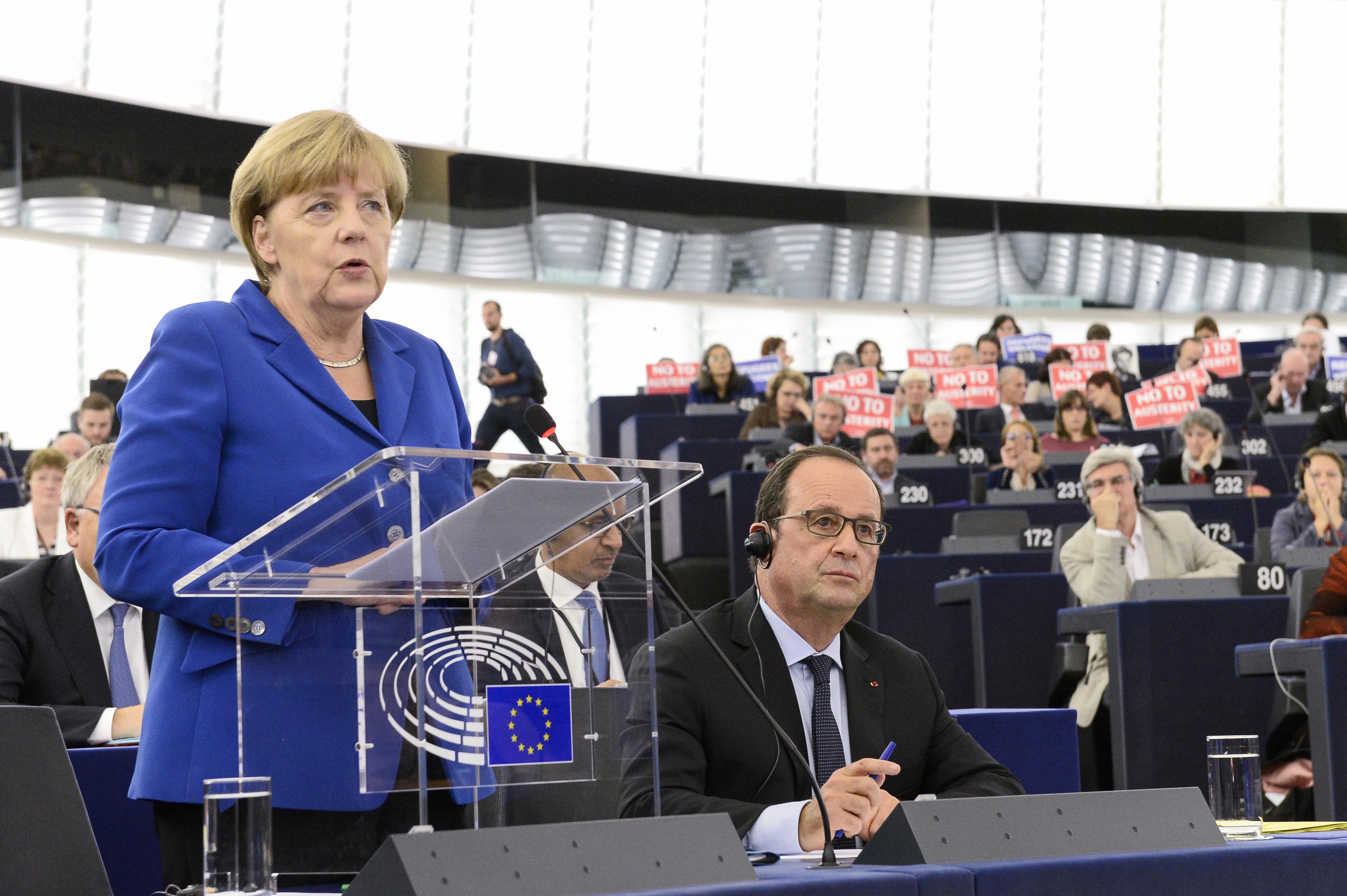 Bei ihrer Rede im EU-Parlament fordert Angela Merkel mehr eurpäische Solidarität in der Flüchtlingskrise. [EP]