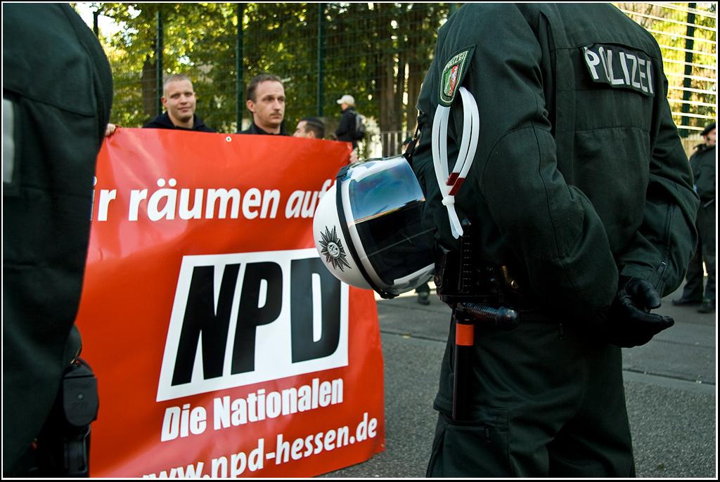 Die rechtsradikale Partei NPD könnte bald verboten werden.