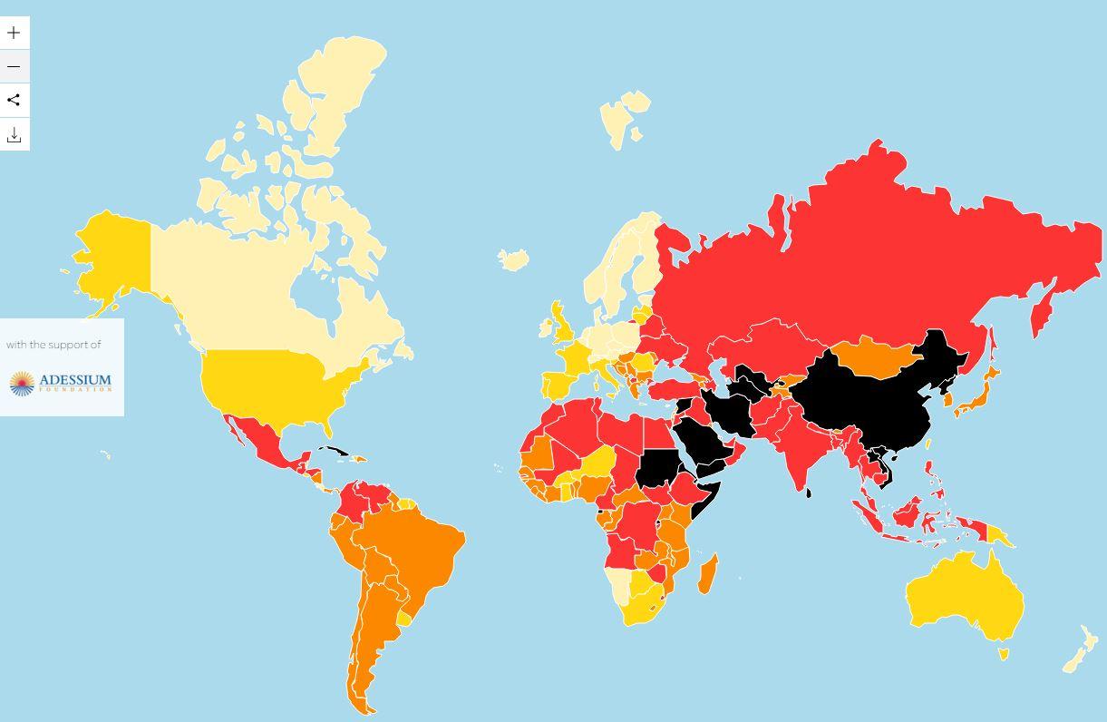 Das globale Ranking von Reporter ohne Grenzen