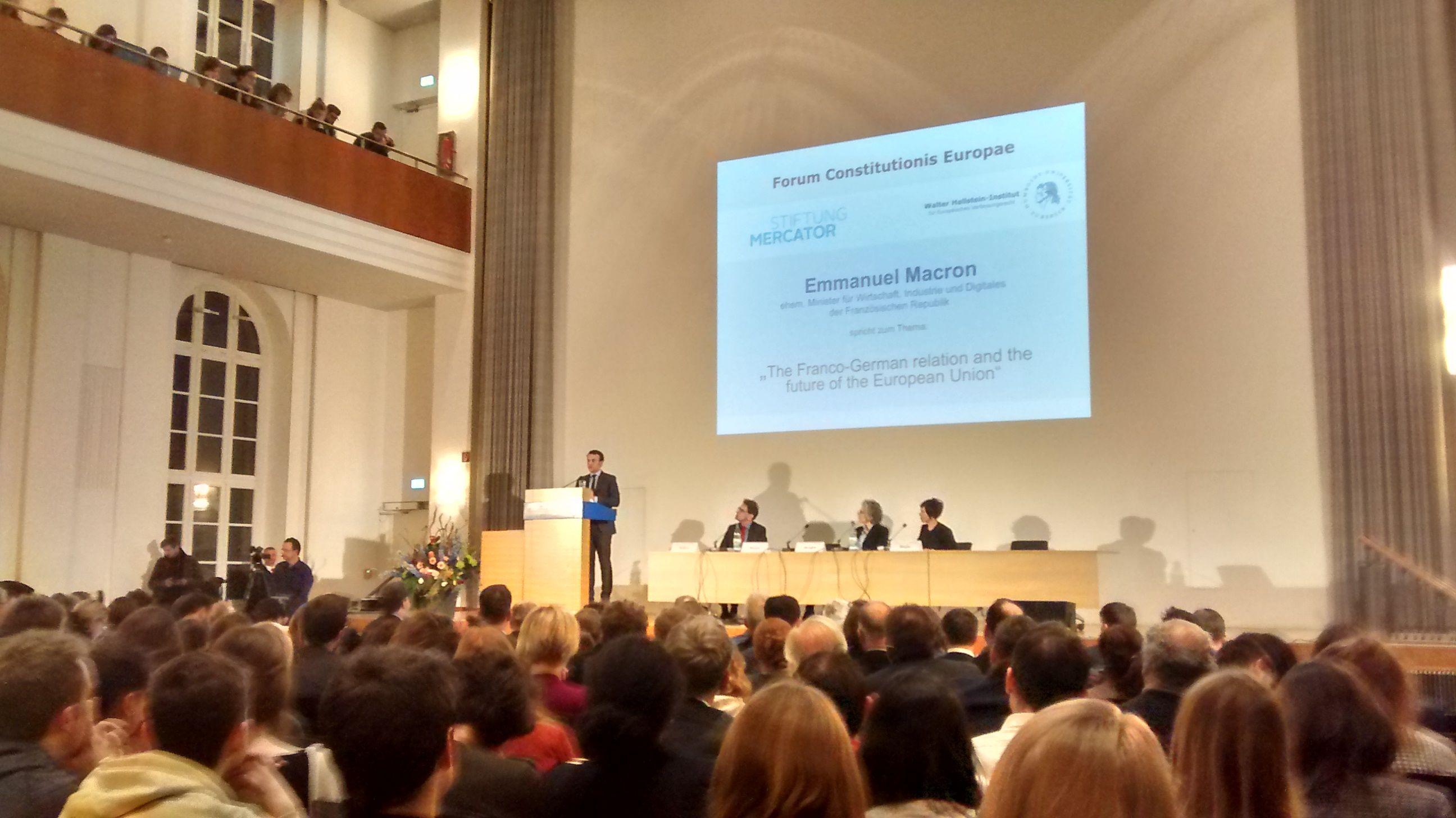 Emmanuel Macron am Dienstagabend in der Humboldt-Universität in Berlin.