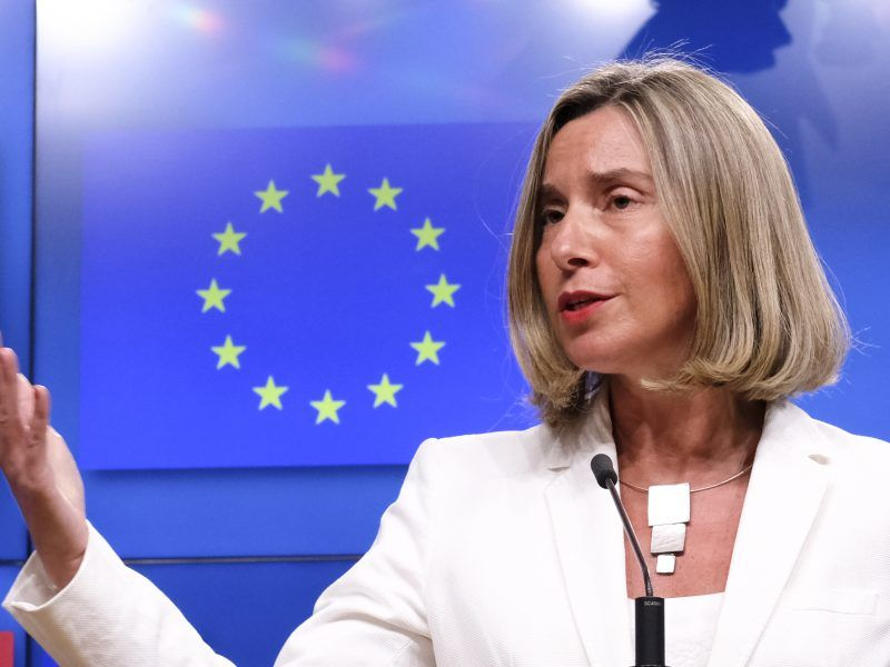 epa06738539 European Union Foreign Policy Chief Federica Mogherini reacts to Question on Iran Nuclear deal, during a news conference in Brussels, Belgium, 15 May 2018. This evening, High Representative is convening a meeting with the E3 Foreign Ministers (Heiko Maas, Foreign Minister of Germany, Jean-Yves Le Drian, Foreign Minister of France and Boris Johnson, Foreign Minister of the United Kingdom), followed by a meeting of the four with the Foreign Minister of Iran, Mohammad Javad Zarif. EPA-EFE/OLIVIER HOSLET