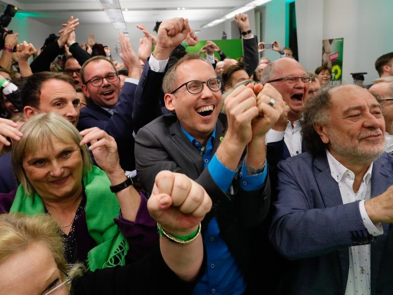 Feier bei den Grünen nach Landtagswahl in Hessen