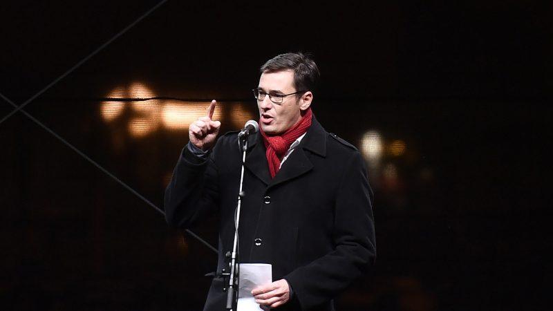 Budapests Bürgermeister Gergely Karacsony spricht anlässlich eines 2019 Kulturgesetzes